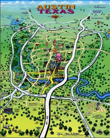 Austin cartoon map