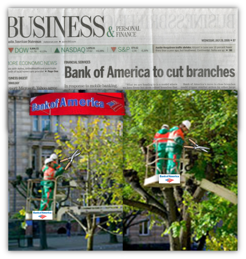 BofA to cut branches
